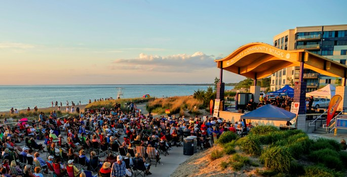 Band performing concert on the Grand Bend Beach